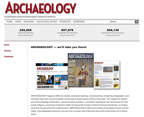 Archaeology Magazine - Advertising