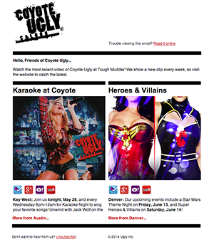 Coyote Ugly Email Newsletter